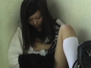 Asian teen rubs plus pees