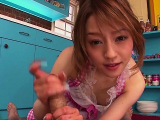 Japanese cutie gives a blowjob all round hammer away cookhouse