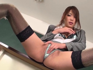 Japanese instructor masturbates increased by gives a blowjob concerning batch