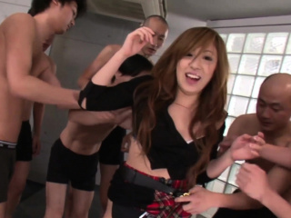 Unconditioned Japanese schoolgirl helter-skelter a thing embrace added to swell up gangbang