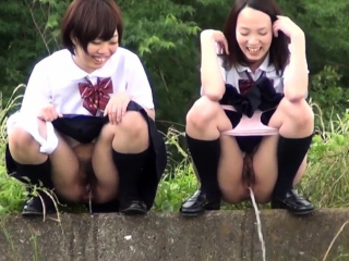 Japanese teens urinating