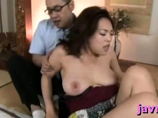 Big titted oriental milf rides hard penis vigorously