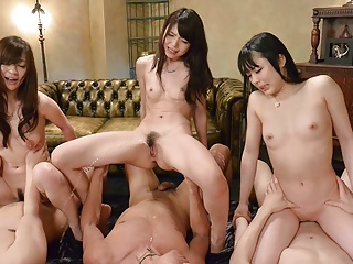 Japanese brunettes, Megumi, Yui and Maria, uncensored
