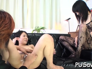 Japanese babe stands over big marital-device and pose