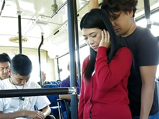 Japanese brunette, Aimi Nagano got fucked down along to bus, uncens